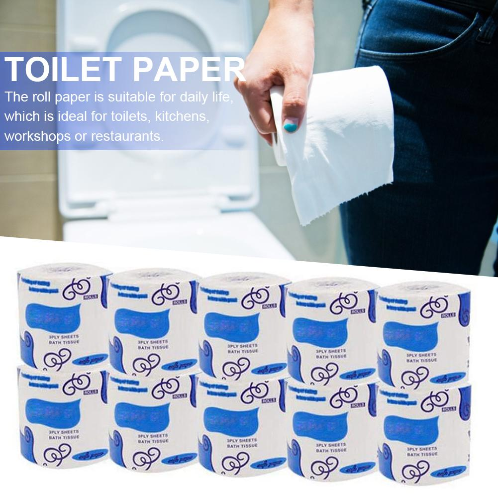 Toilet Paper Tissue 3-Ply Toilet Paper Smooth Soft Tissue Paper Roll Paper Toilet Roll Paper For Household 10 Rolls