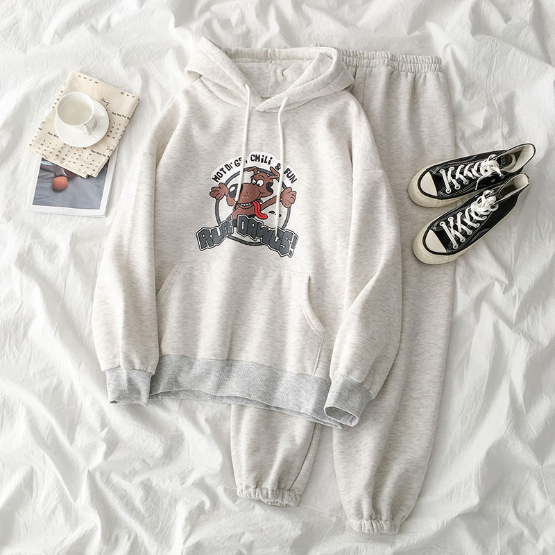 Casual Lovely Pant Set Women Spring Casual Cartoon Hooded Sweater +High Waist Harem Pant Matching Set Cotton Two Pieces Set