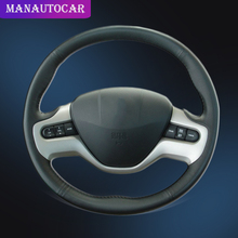 Auto Braid On The Steering Wheel Cover For Honda Civic 8 2006 2011 (2 Spoke) Car Styling Hand Sewing Car Steering Wheel Cover