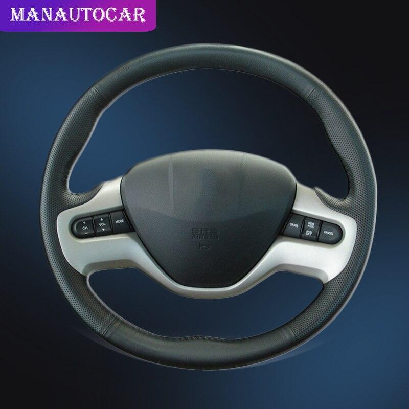 Auto Braid na pokrywie kierownicy dla Honda Civic 8 2006 2011 (2 Spoke) stylizacja samochodu do naszycia osłona na kierownicę do samochoduPokrowce na kierownicę   -