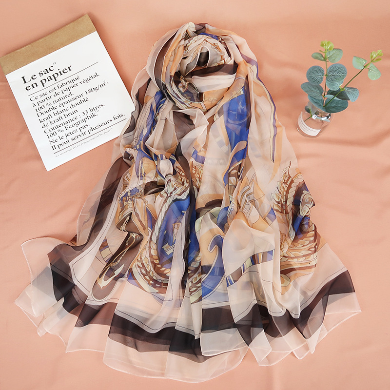 185 X 140 cm New Fashion Silk Scarf Summer Tarot Card Women Constellation Brand Design Long Shawls Wraps Lady Brand Design image