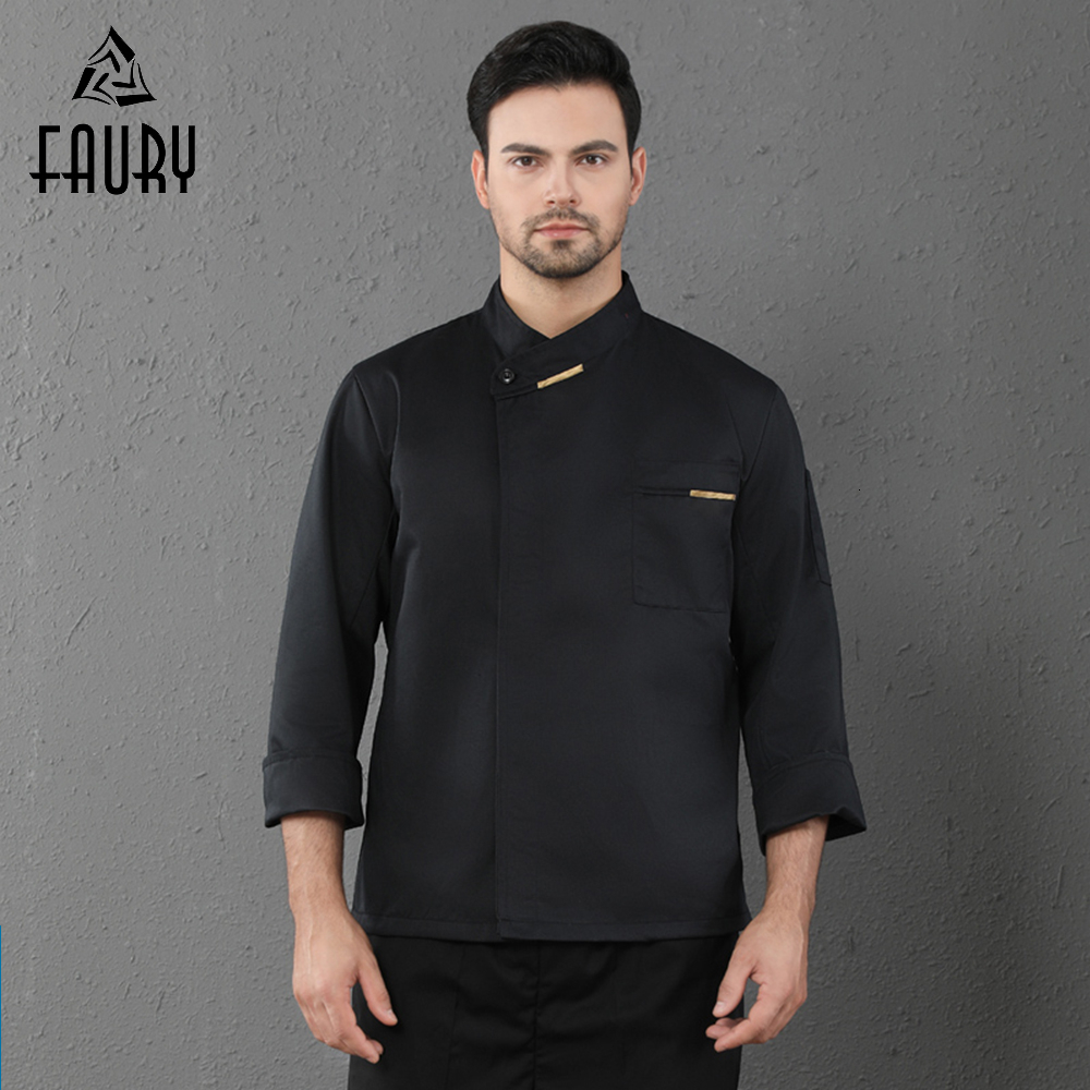 Long Sleeve Chef Coat Unisex Hotel Restaurant Uniform Kitchen Cooking Jacket Cafe BBQ Bakery Barber Waiter Lady Chef Jacket