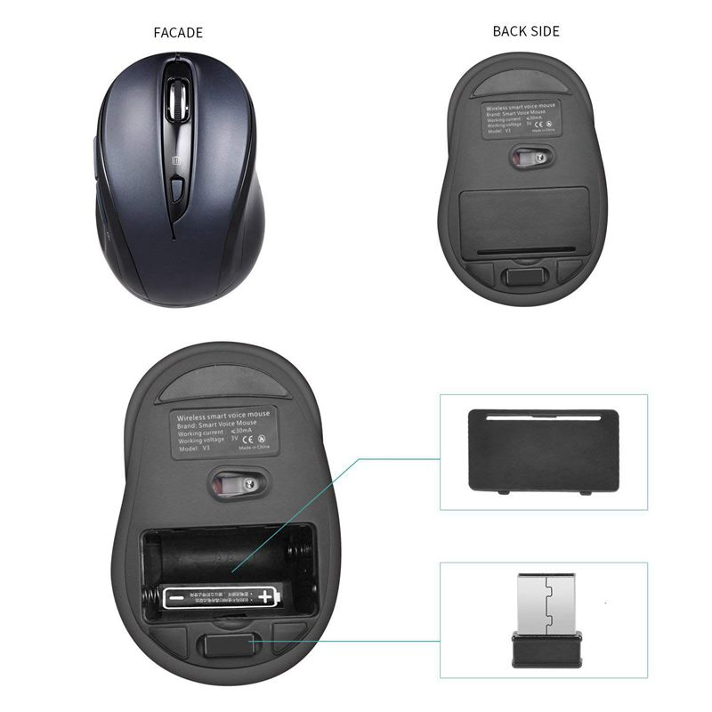 V3 Wireless Mobile Mouse adjustable Voice Typing Voice Command Long Range Wireless Mouse For Notebook Tablet in Mice from Computer Office