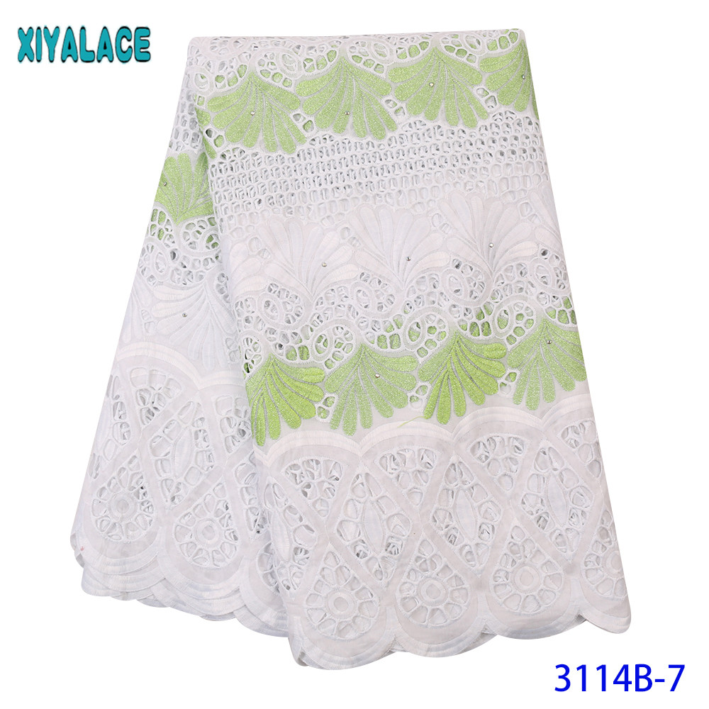 African Nigerian Dry Lace Fabric High Quality Pure CottonSwiss Voile Lace In Switzerland For Sewing Dresses KS3114B