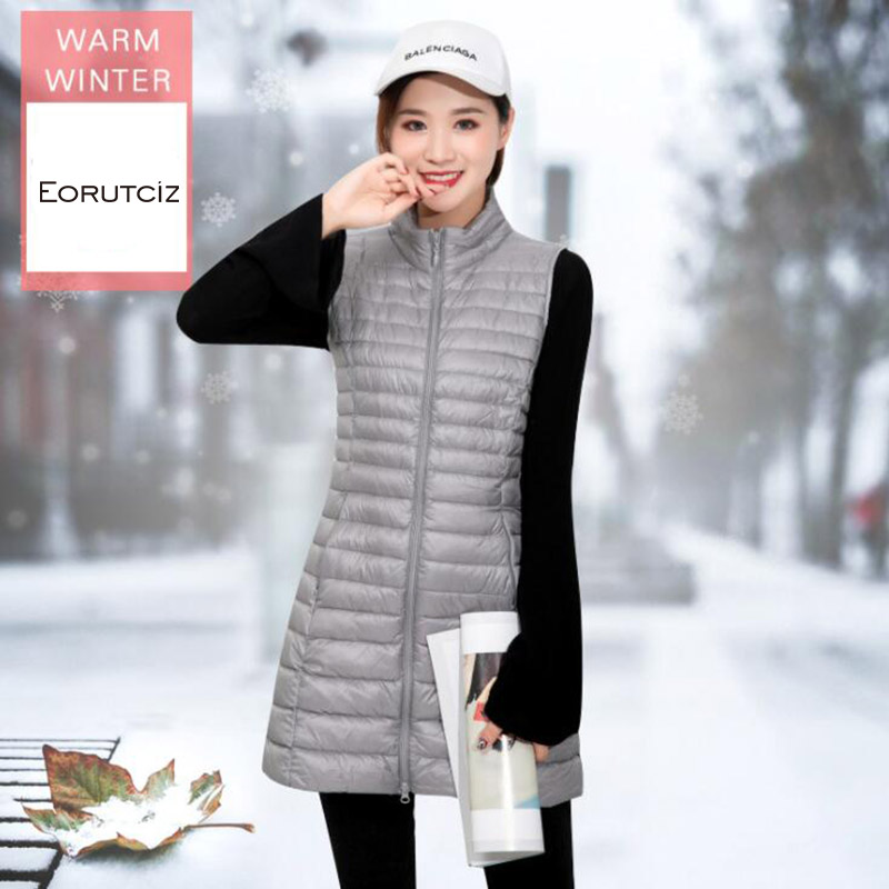 EORUTCIZ Winter Plus Size 4XL Long Down Women Vest Ultra Light Tunic Jacket Sleeveless Vintage Waistcoat Autumn Coat LM620