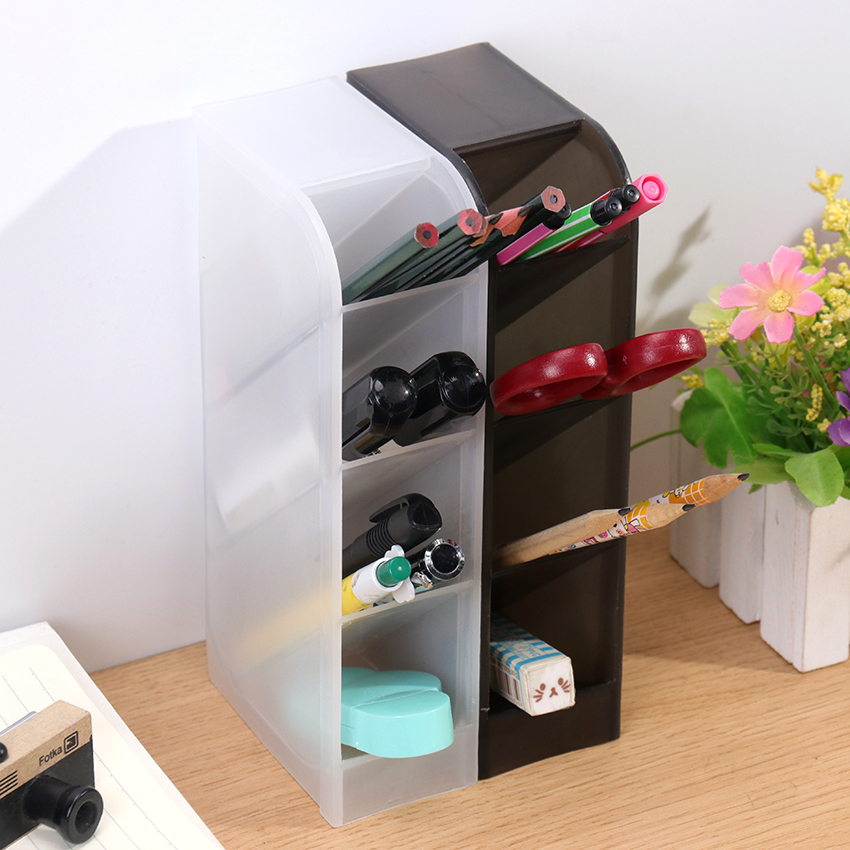1PC Multi-Function 4 Grid Desktop Pen Holder Office School Storage Case Made By Eco-Friendly Desk Pen Pencil Organizer