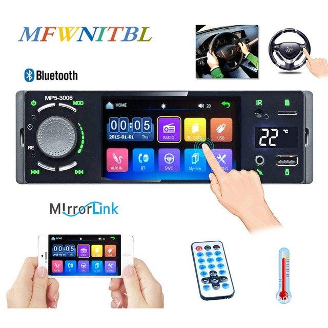 """Ayna bağlantı 1 Din Autoradio araba radyo 4.1 """"dokunmatik ekran otomatik ses Bluetooth araç Stereo MP5 oynatıcı multimedya dikiz kamera"""