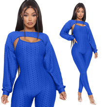 Casual Women Two Piece Set Batwing Crop Top + Jumpsuit  Joggers Sportsuit Streetwear Winter Clothes For Women Outfit