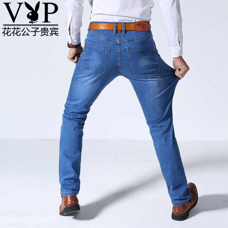 Playboy Vip MEN'S Jeans Summer Thin Section Business Straight-Cut Long Pants Free Authorization