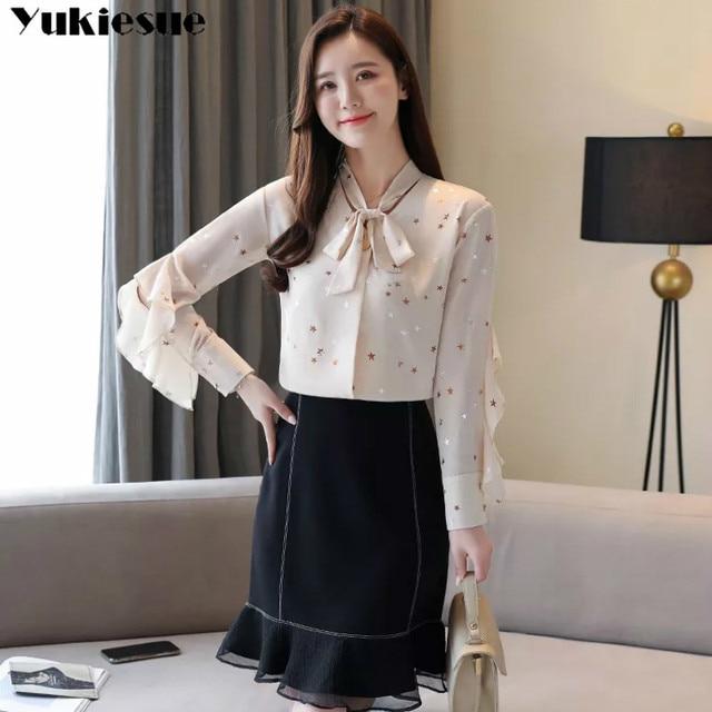 fashion woman blouses summer long sleeve bow collar women's shirt blouse  women blusas womens tops and blouses chiffon shirts 5