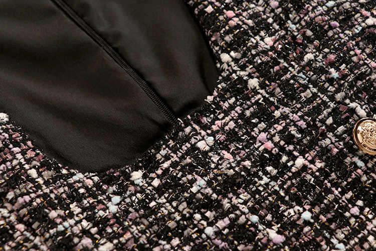 2019 סתיו חורף 2 חתיכה סט סרבל שמלת נשים אלגנטי קפלי שיפון קשת חולצה למעלה + זוגי חזה משובץ טוויד אפוד שמלה