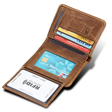 RFID Men Wallets Genuine Leather Trifold Male Top Layer Cowhide Multi Card Slots Purse Short Wallet for Credit Cards