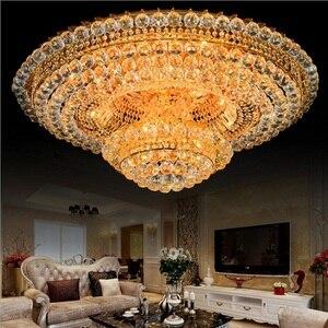 Lámpara de araña de Cristal de lujo para el techo de la sala de estar moderna lámpara Led de Cristal de oro Control remoto RGB Lustre Cristal