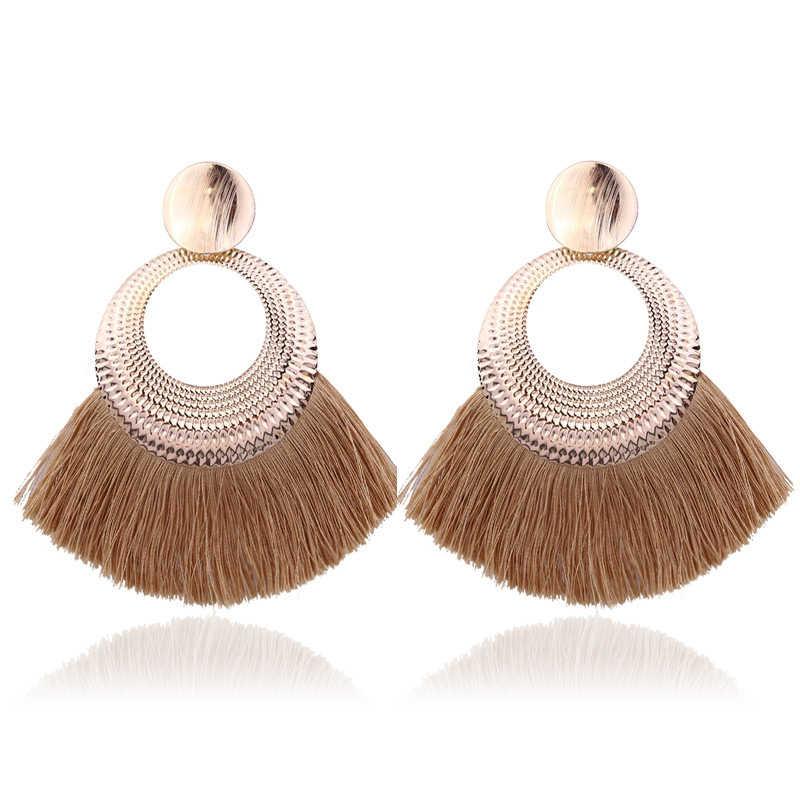 Nouveau bohème fait à la main déclaration gland boucles d'oreilles pour les femmes Vintage rond longue goutte boucles d'oreilles de mariage mariée frangée bijoux