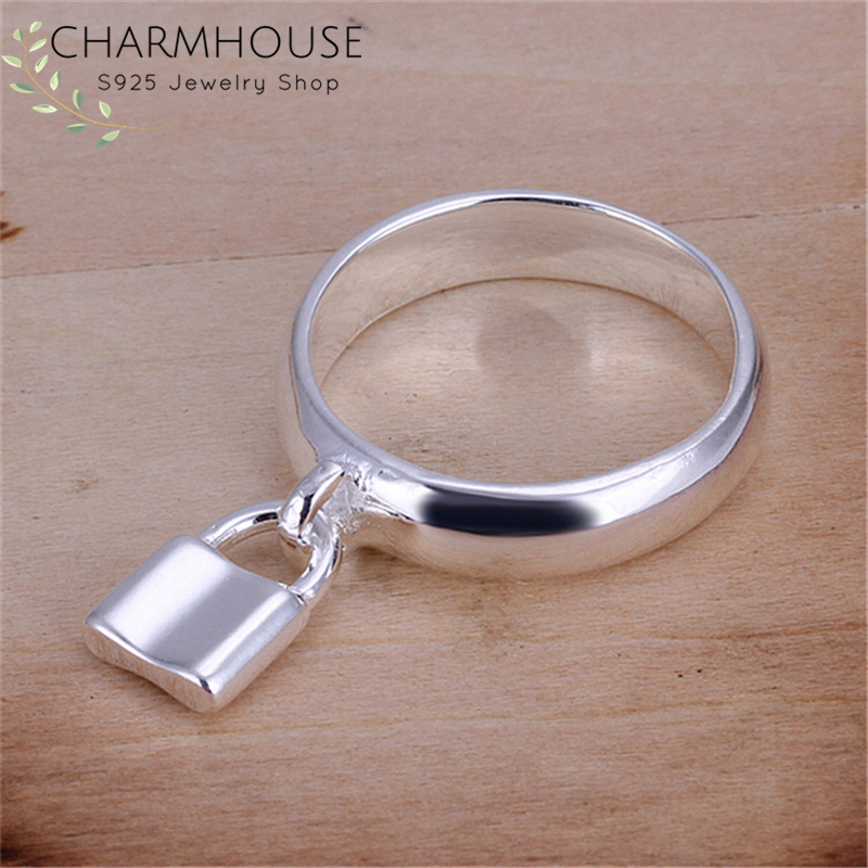 925-Silver Rings Jewelry-Accessories Wedding-Band Engagement Sterling Size-8 Women Lock