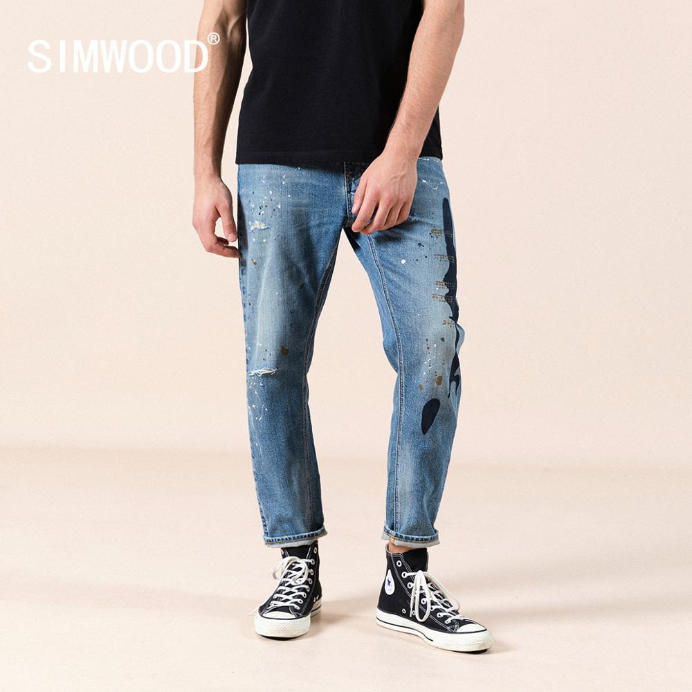 SIMWOOD 2020 summer new paint splatter hole jeans men fashion hip hop streetwear print fashion denim pants plus size jeans