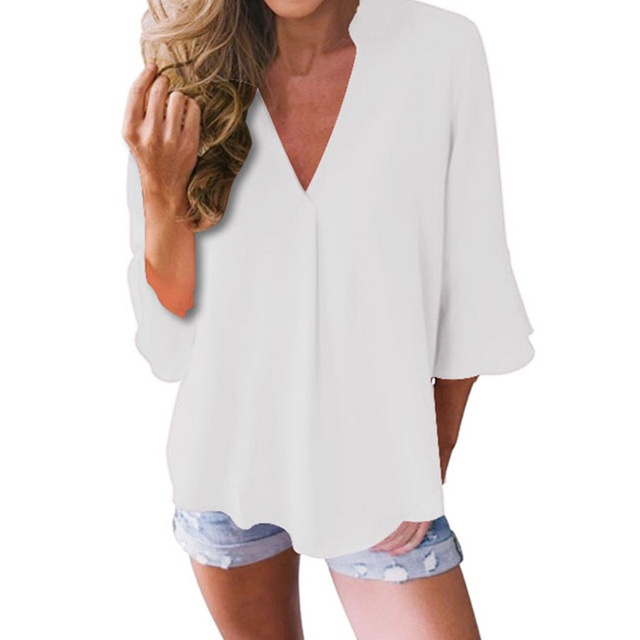 Large Size Casual Loose Chiffon Shirt Women Lotus Leaf Seven Sleeves Blouse Spring Summer Trendy Pure Color V-Neck Tops S-5XL 6