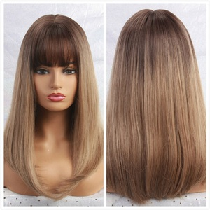 Image 5 - EASIHAIR Long Dark Brown Straight Synthetic Wigs with Bangs Natural Wigs for Women African American Heat Resistant Cosplay Wigs