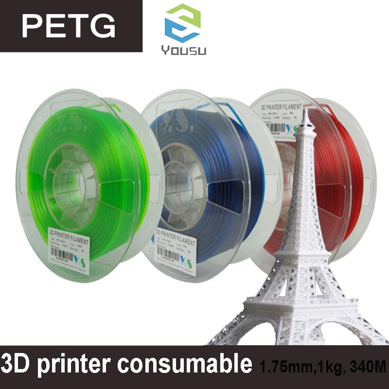 """ספיישל SILVERLIT ABS / PLA / PETG נימה 1.75 / 1 ק""""ג / 3D מדפסת מתכלים / YouSu באיכות גבוהה מותג שקוף משלוח חומר מרוסיה (1)"""
