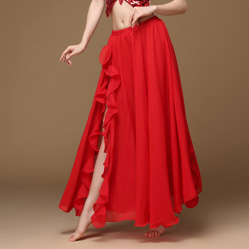 2019 New Belly Dancing Side Pulling Long Satin Skirt Lady Belly Dance Skirts Women Sexy Oriental Belly Dance Skirt ProfessionalBelly Dancing   -
