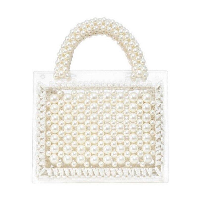 Новинка 2020, Роскошная большая женская сумка с жемчугом, шикарный вечерний клатч ручной работы с прозрачными бусинами, кошельки и сумочки, же...