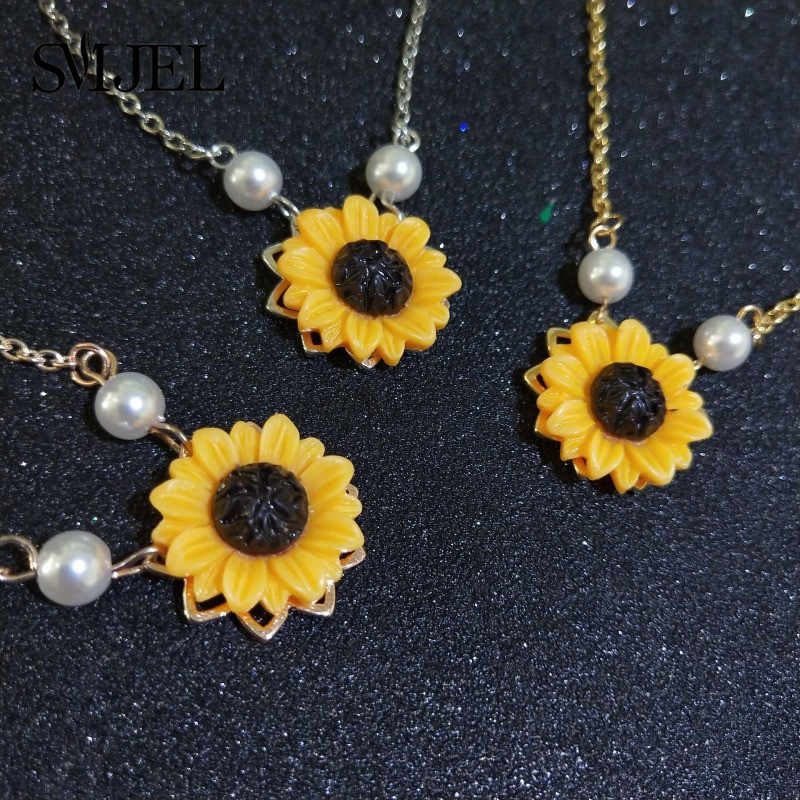 SMJEL ouvert médaillon tournesol collier feuilles soleil fleur boucles d'oreilles colliers Unique fête bijoux cadeaux vêtements accessoires