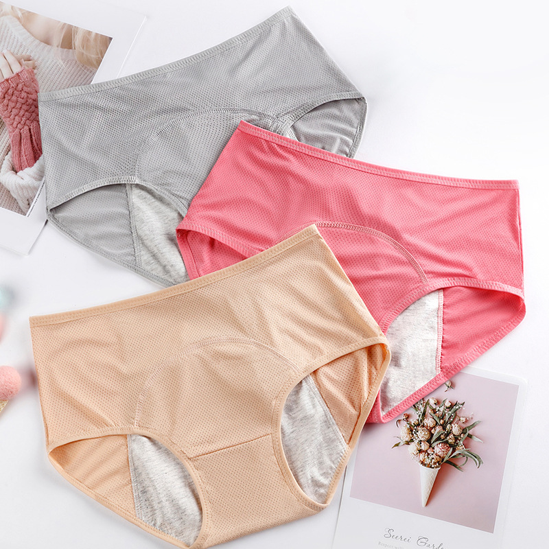 3Pcs Big Size L-6XL Sexy Women Underwear Leak Proof Mid-waist Menstrual Period Cotton Soft Underpants Briefs Physiological Pants