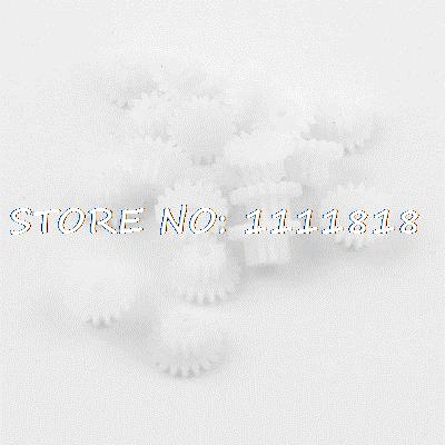 20 Pieces Plstic 1.5mm Thick 10mm Dia Robot DIY Models Teeth Gears White