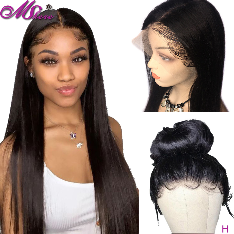 Mshere 360 Lace Frontal Wig Pre Plucked With Baby Hair 150 Density Brazilian Remy Straight Human Hair Wig Front Without Glue