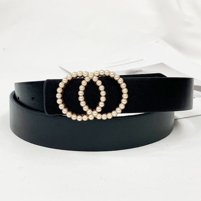 Inlaid Pearl Belts for Women waist Luxury Simple High Quality PU leather Belt jeans Belts for Dress studded buckle girls 2020 2