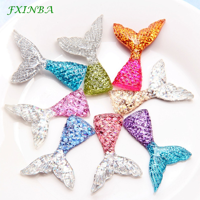 FXINBA 2Pcs/Lot Resin Mermaid Tail Charms For Slime Polymer Clay DIY Decoration Phone Flatback Charms Slime Supplies Kit Toys