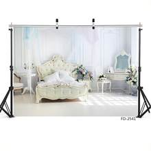 Room Bed Bedroom Backgrounds For Baby Shower Kids Birthday Party Decorations Portrait Photography Backdrops Photo Studio Props(China)
