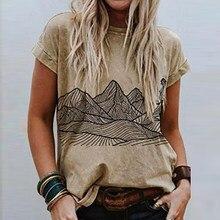 Camisetas informales con estampado para mujer, de diseño elegante pulóvers, Tops sueltos de cuello redondo, de manga corta Camiseta holgada para mujer, novedad de verano