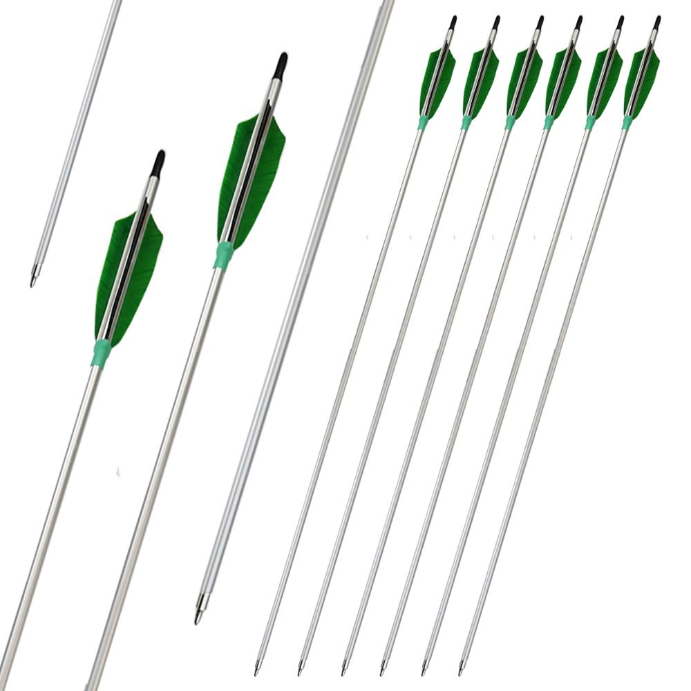 Aluminum Arrows 500 Spine Archery Target Hutning Shooting with Real Turkey Feathers for Compound Recurve Bows 6Pack/Lot image