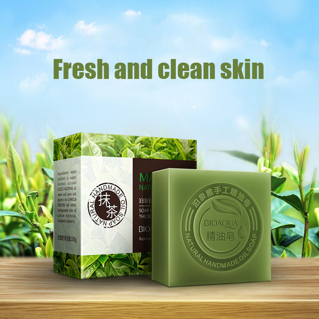 Organic Matcha Green Tea Handmade Soap Skin Whitening Moisturizing Face Cleansing Soap Remove Acne Cleansing Bath Bar Soap 100g 2