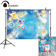 Allenjoy baby photography background Space Astronaut future Travel Rocket Birthday party backdrop photocall photobooth photozone