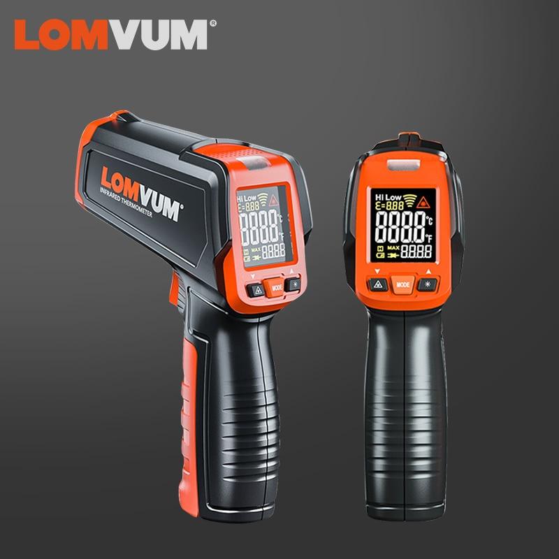 LOMVUM Бесконтактный цифровой ЖК-дисплей термометр цифровой C/F выбор поверхности ручной измеритель пирометр