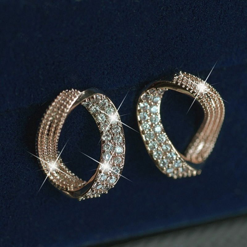 Корейские модные круглые серьги гвоздики, роскошные золотые стразы, женские свадебные вечерние ювелирные изделия, Z4T456 Серьги-гвоздики      АлиЭкспресс