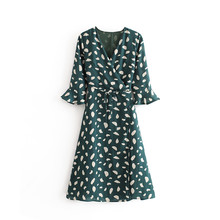 Women Elegant Polka Dot Print Split Maxi Dresses Spring Summer Deep V Neck Flare Sleeve Party Ladies Sexy Vestdos A-Line NZ0178