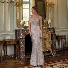 Serenhill robe de soirée de forme sirène, tenue de soirée élégante, sans manches, col en v, argent, pampilles, perlage, luxe, dernier Design, CLA60830, 2020