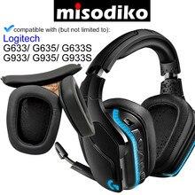 Misodiko – coussinets d'oreille et bandeau de remplacement, pour Logitech G633 G933 G635 G935 G633S G933S
