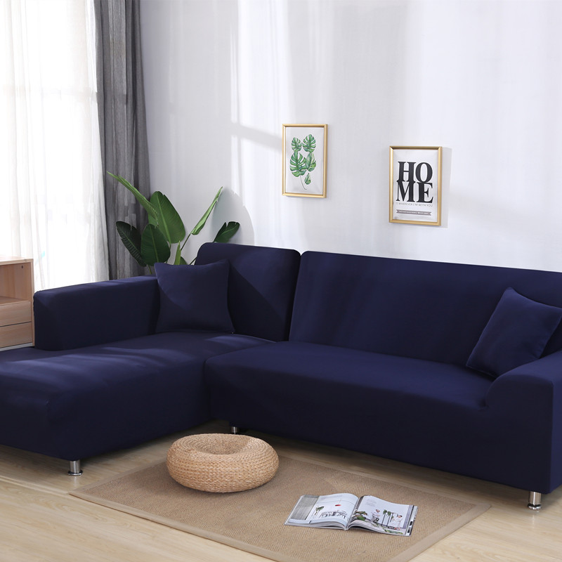 Elastic Solid Color Sofa Cover For L Shaped Sectional Corner Chaise Longue Sofa Stretch Couch Cover Slipcovers For Living Room