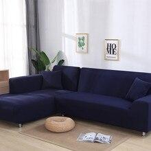 Elástico de color sólido para sofá cubierta en forma de L transversal esquina Chaise Longue sofá funda de sofá elástica fundas para la sala