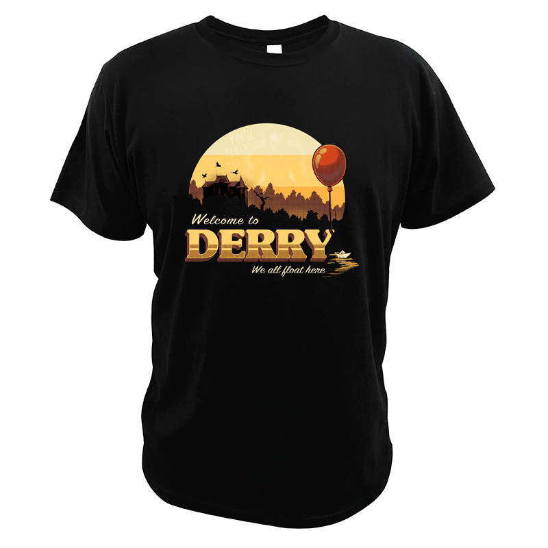 It Horror Movie <font><b>Tshirt</b></font> <font><b>Pennywise</b></font> Balloons Welcome To Derry Tops 100% Cotton High Quality T Shirts image
