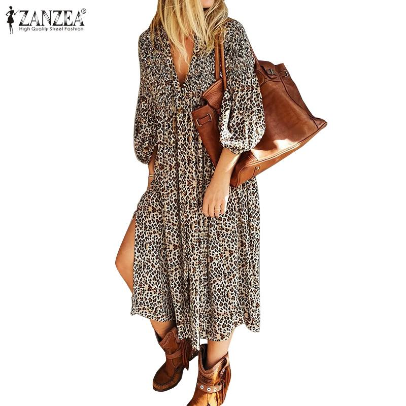 ZANZEA Leopard Printed 2020 Summer Dress Women Mid Calf Vestidos Sexy High Split V Neck Party Sundress Robe Femme Plus Size 5XL