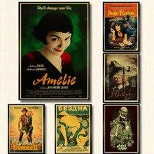 Póster de Amelie y póster de pulp fiction, póster Retro de papel de estilo Vintage