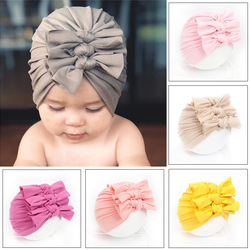 Nishine New Folds Knotted Bow Indian Baby Knitted Hat Newborn Infant Kids Boy Girl Turban Flower Beanie Hat Soft Caps
