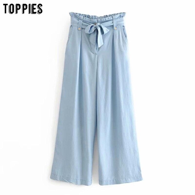Summer Wide Leg Pants Womens Lace-up High Waist Trousers Fashion Blue Denim Pants Streetwear
