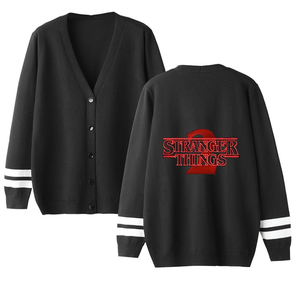 Stranger Things V-neck Cardigan Sweater Men/women Hot Fashion Casual Sweater Stranger Things Cardigan Sweater Black Casual Tops