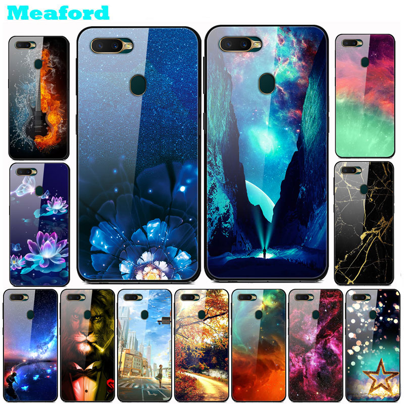 Tempered Glass Case For OPPO AX7 Case Hard PC Colorful Back Cover For OPPO A7 / OPPO AX7 Phone Bumper Shell OPPOA7 AX 7 funda image